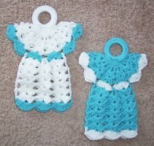 Pair Of Angel Potholders/Wallhangings, Crochet, Aqua And White, New, Handmade