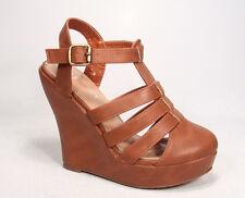 Women's Strappy Buckle Wedge Platform Heel Sandal Shoes Size 6 - 10 Black Yellow