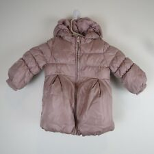 Baby Gap Pink Puffer Coat Jacket Girls Hooded Zip Up Infant Size 18 24 Months