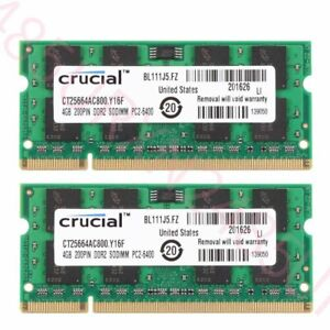 Crucial 8GB 4GB DDR2 PC2-6400 800 Laptop RAM For Dell Inspiron 1440 1545 1750 UK
