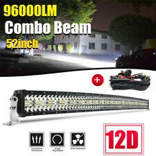 52 inch LED Light Bar 3250W Spot Flood Curved Off Road Driving/Fog Lamp + Wiring