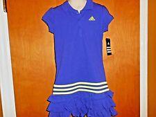 NWT ADIDAS Girls 6X Dark Purple Tennis Stripe Ruffle Cotton Short Sleeve Dress