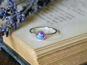 Dark Purple and Blue Opal Ring 925 Simple Stacking Ring Handmade ANY SIZE