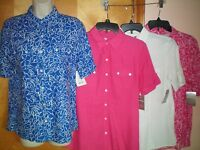 NWT NEW womens ladies size S M  pink white s/s linen rayon shirt blouse top