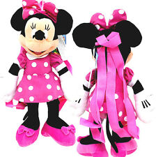 "Walt Disney Minnie Mouse Clubhouse Pink Dress 17"" Plush Backpack Tote-NEW w/Tags"