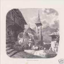 Bürglen Burg Attinghausen Kanton Uri HOLZSTICH um 1880
