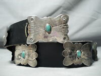INCREDIBLE VINTAGE NAVAJO TURQUOISE STERLING SILVER CONCHO BELT OLD