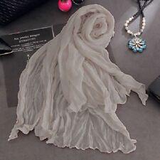 New Wrinkle Crinkle Shawl Long Soft Candy Scarf Wrap Chiffon Cotton Blend U Pick