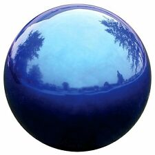 Blue Gazing Globe 10in Garden Accent Stainless Steel Mirror Ball Out Door Decor