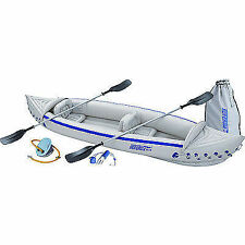 Sea Eagle 370 Deluxe Package 3 Person Inflatable Kayak Canoe