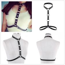 US Sexy Women PU Leather Body Chest Bra Harness Black Adjustable Belt Shoulder