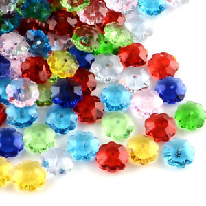50pcs Colorful Transparent Glass Flower Beads Faceted Marguerite Bead 9.5~10mm