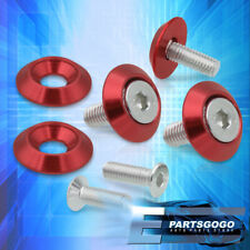 5 Pcs M6X20mm Anodized Red 10mm Fender Bolt Washer Engine Dress Up Kit For Ford