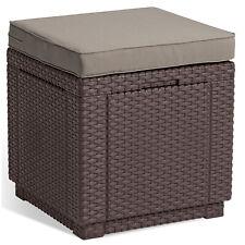 ALLIBERT JARDIN Table-pouf avec coussin et rangement intégré graphite / brun