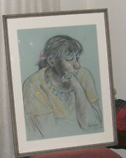 "Signed JON LIGHTFOOT Original Oil Pastel Framed ""MARKET WOMAN""  1976"