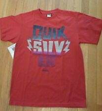 NWT QUICKSILVER, Red Graphic Tee Sz Small 100% Soft Cotton (T-242)