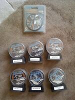 6 NHL San Jose Sharks sealed autographed hockey pucks w/Letters of Authenticity