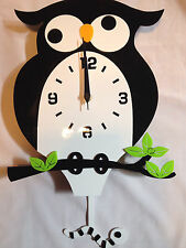 Acrylic cute owl Wall Clock black silent movement