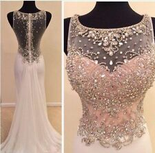 New Beaded Long Chiffon Bridesmaid Formal Gown Party Cocktail Evening Prom Dress
