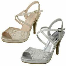"Ladies Anne Michelle Diamante Buckle Strap ""Sandals"""