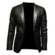 New Men Faux Leather Motor Jacket Waist Length Lapel Blazer Single Breasted Coat