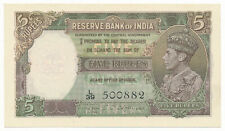 India British 5 Rupees ND (1943) P. 18b Deshmukh UNC Note George VI
