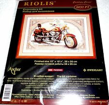 "Riolis Counted Cross Stitch Kit HARLEY DAVIDSON MOTORCYCLE 15"" x 10 1/4"""