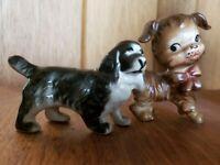 Ceramic Dog Figurine Lot 2 Anthropomorphic Mid Century Brown Black Kitsch Japan