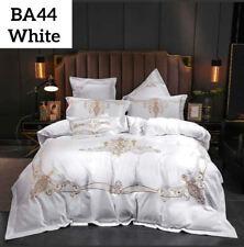 4 Pcs Set Luxury 60S White Bedding European Washed Silk Embroidery Duvet
