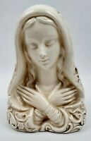 "Art Nouveau Virgin Mary Planter Holy Figure  6.5"" tall Ivory Ceramic Vintage"
