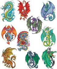 Fantasy Dragons Temporary Tattoos, Set of 10 Large Colorful Dragon Tattoos, New
