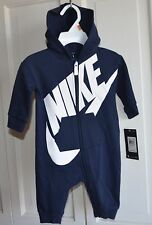 NWT $40 Nike Logo Baby Boy Hoodie Bodysuit Romper Clothes Size 3/6 MO Navy blue