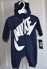 NWT $40 Nike Logo Baby Boy Hoodie Bodysuit Romper Clothes Size 0/3 MO Navy blue