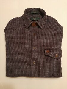PRE OWNED Heavy Cotton Mens Orvis  Long Sleeve Button Up Plaid Shirt Size Med