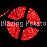 LumenWave 5M 5050 IP65 Waterproof Flexible 300 LED Strip Lights -White PCB- Red