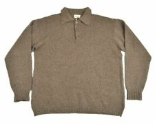 BRIONI Sport Solid Brown CASHMERE SILK WOOL Woven Pullover Polo Sweater - LARGE