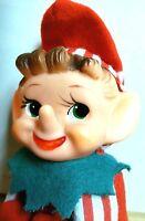 Knee Hugger Red Stripe Christmas Elf Ornament,Japan,Shelf,Pointed Nose,Vintage