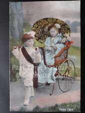 Old PC, 'Happy Days' showing Children playing in Rickshaw by J.W.B. Series 301