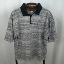 Johnny Jordan mens polo shirt Size L Black print Cotton Short sleeves