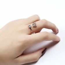 Fashion Crystal Letter W Open Ring Women Finger Knuckle Adjustable Jewelry Gift
