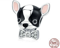 Authentic Sterling Silver Charm Chihuahua CZ Charm Bead