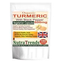 Organic Turmeric Curcumin Pure with Black Pepper 600mg 180 Veg Capsule UK made