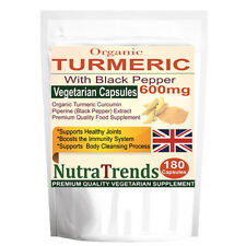 Organic Turmeric Curcumin Pure with Black Pepper 600mg 180 Veg Capsule UK made