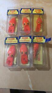 (4)Wee Steelie (2)Pee Wee Wiggle Wart Pre Rapala Fluorescent Orange (6)LURE Lot