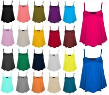 Womens Plain Cami Flared Strappy Swing Vest Ladies Sleeveless Tank Top Plus Size