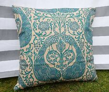 Teal Peacock Pattern Cushion Cover, Cotton Canvas, Designer,Turquoise, Modern