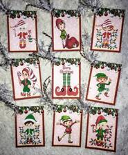Set of 9 Hang Tags~Christmas Elves~Gift Tags~Scrapbooking~Card Making~#150T