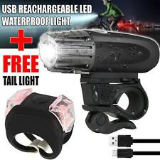 Bike Bicycle USB LED Lights Rechargeable Set Mountain Cycle Front Back Headlight