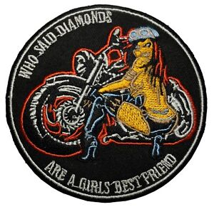 Biker Patch / Who Said Diamonds Are A Girls Best Friend - Embroidered Motorcycle