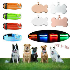 Pet Dog Led Collar Night Flashing With Id Name Tag Custom Engraved Double Side